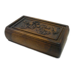 Golden Lotus - Hcs696-8 Chinese Huali Rosewood Handcrafted Storage Box - This is a decorative box made of Huali rosewood and crafted into rectangular shape with pull out lid.
