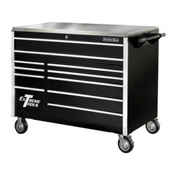 Extreme Tools - 11-Drawer Professional Tool Chest w Steel Top on Locking Casters - Made of Steel. Four (4) 6 in. x 2 in. casters - 900 lbs Rated. Handle included fits either end. High gloss powder coat finish. Drawers with ball bearing glides. 250 - 500 lbs. rating per drawer. Frame is 11 gauge steel. Theft proof lock system. Includes stainless steel top. Black finish. 55 in. W x 30 in. L x 47 in. H (659 lbs.)