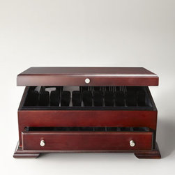 Wallace - Wallace Dark Walnut Flatware Chest - Traditional flatware chest keeps your flatware safely stored and ready to use. Made of walnut with black fabric lining and brushed-nickel accents. Dark walnut finish. Holds a service for 12. Pull-out drawer provides additional storage for serving pi...