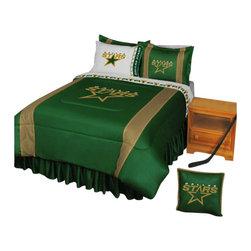 Store51 LLC - NHL Dallas Stars Hockey Team 5 Piece Queen Bedding Set - Features: