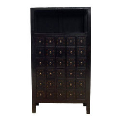 Large Living Room - This cabinet with 30 drawers was used to hold Chinese herb medicines over a century ago. The name of each herb medicine is written on the door. It shows nice patina in dark chocolate color. This exotic apothecary cabinet will not just be an excellent showpiece, but also can be useful. It is great to use as a CD cabinet.