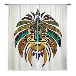 "DiaNoche Designs - Window Curtains Unlined - Pom Graphic Design Emperor Tribal Lion I - Purchasing window curtains just got easier and better! Create a designer look to any of your living spaces with our decorative and unique ""Unlined Window Curtains."" Perfect for the living room, dining room or bedroom, these artistic curtains are an easy and inexpensive way to add color and style when decorating your home.  This is a tight woven poly material that filters outside light and creates a privacy barrier.  Each package includes two easy-to-hang, 3 inch diameter pole-pocket curtain panels.  The width listed is the total measurement of the two panels.  Curtain rod sold separately. Easy care, machine wash cold, tumbles dry low, iron low if needed.  Made in USA and Imported."