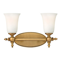 "Hinkley - Hinkley Yorktown 15 1/2"" Wide Brushed Bronze Bathroom Light - This bathroom light has traditional styling with cast detailing and two etched opal glass lights. Traditionally handsome, this bathroom light will add a sense of stately distinction to your home. Sophisticated etched opal glass complements the brushed bronze oval backplate, creating a look that is both warm and inviting. From Hinkley Lighting's Yorktown collection."