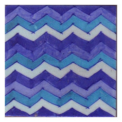 "Knobco - Tiles 6X6""Inch, Blue, Lime Blue, Turquoise And White Zig-Zag - Blue, lime blue, turquoise and white zig-zag tile from Jaipur, India.  Unique, hand  painted tiles for your kitchen or other tiling project.  Tile is ""6x6"" in  size."