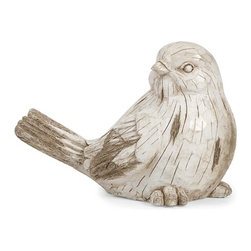 iMax - Singleton Garden Bird - This twittering friend is perfect for adding character inside or out! with the look of aged, carved, white washed wood, this sweet songbirdworks great as a door stop, a garden decoration, or a decorative room accent in an enclosed patio.