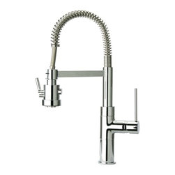 Kitchen Sinks - Faucets - FAUCET GROUP Brushed Nickel Single-Handle Pre-Rinse kitchen Faucet with Spring and Swivel Spout, Dual Mode Spray.