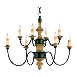 Kathy Kuo Home - English Traditional Wrought Iron Wood 8 light Chandelier - Drawing inspiration from traditional English and Colonial style chandeliers, this wrought iron and wood piece has turned wood, artful welding and an abundance of light to fit beautifully within a variety of styles from French farmhouse and beyond.