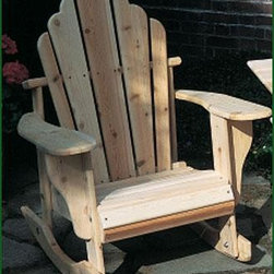 """Ossipee Rocker - Rocker, Natural Cedar. Crafted from Northern White Cedar, they feature extra-wide arms and comfortable contoured seats which do not slope back as much as our classic Adironack chairs - making it easier to get in and out of.  Also available in White and Green.  Cushions sold separately.Shipped kit.  40"""" H, 33"""" W, 33"""" D."""