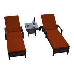 "Reef Rattan - Reef Rattan 3 Piece Islander Chaise Lounger Set Chocolate Rattan / Orange Cushio - Reef Rattan 3 Piece Islander Chaise Lounger Set Chocolate Rattan / Orange Cushions. This patio set is made from all-weather resin wicker and produced to fulfill your needs for high quality. The resin wicker in this patio set won't fade, shrink, lose its strength, or snap. UV resistant and water resistant, this patio set is durable and easy to maintain. A rust-free powder-coated aluminum frame provides strength to withstand years of use. Sunbrella fabrics on patio furniture lends you the sophistication of a five star hotel, right in your outdoor living space, featuring industry leading Sunbrella fabrics. Designed to reflect that ultra-chic look, and with superior resistance to the elements in a variety of climates, the series stands for comfort, class, and constancy. Recreating the poolside high end feel of an upmarket hotel for outdoor living in a residence or commercial space is easy with this patio furniture. After all, you want a set of patio furniture that's going to look great, and do so for the long-term. The canvas-like fabrics which are designed by Sunbrella utilize the latest synthetic fiber technology are engineered to resist stains and UV fading. This is patio furniture that is made to endure, along with the classic look they represent. When you're creating a comfortable and stylish outdoor room, you're looking for the best quality at a price that makes sense. Resin wicker looks like natural wicker but is made of synthetic polyethylene fiber. Resin wicker is durable & easy to maintain and resistant against the elements. UV Resistant Wicker. Welded aluminum frame is nearly in-destructible and rust free. Stain resistant sunbrella cushions are double-stitched for strength and are fully machine washable. Removable covers made with commercial grade zippers. Tables include tempered glass top. 5 year warranty on this product. Chaise Lounger (2): W 29"" D 78"" H 10"", Coffee Table: W 20"" D 18"" H 10"""
