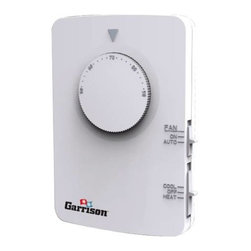 GARRISON - GARRISON H/C T-STAT 2/2 MECH - Multi-stage thermostat that can be used with most 24 volt, 2 stage heat and/or 2 stage cool: gas, oil, or electric heating and air conditioning systems, or single-stage heat pumps or single stage heat with auxiliary heat. | Features: | White finish |Dial Thermostat, Non Programmable. | System Powered only. | Temperature Range 50 F to 90 F. | Easy to install. | Gas / Electric blower fan option. | 4-Minute delay for compressor short-cycle protection. | Functions: | Room temperature settings. | Cool/Heat mode selection. | Terminals: O/B G W2 Y2 Y1/A W1 RH RC C