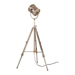 Arteriors Home - Arteriors Home Monahan Adjustable Tripod Lamp - Arteriors Home 46226 - Arteriors Home 46226 - Adjustable iron floor lamp with telescopic tripod base and spotlight globe in antique silver finish.
