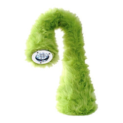 Lumisource - Green Nessie Table Lamp With Color-Changing Light - Twist this stylish lamp any way you wish - its bendable neck focuses soft, warm light in your preferred location. Plus, it has a soft green fur body for that trendy look that'll enhance kids rooms, gamerooms and more. Light is completed with color-changing LEDs. Made of Fabric. Setting with color-changing LED's for mood lighting. Turn the light on or switch settings by squeezing the head. Takes 4 AA batteries (not included). Green finish. 90 day limited warranty. 5 in. W x 5 in. L x 24 in. H (2 lbs.)The Nessie Table Lamp is the newest addition to kids and teens LED lamps. It It is perfect to use while reading, doing homework, or leave lit on your night stand! The bendable neck can twist and turn in all directions to shine the light in the exact spot you need it. The Nessie Table Lamp, inspired by the Loch Ness Monster, comes in a variety of furry colors. Great for Back-to-School or as a gift!