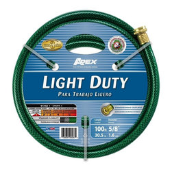 Apex Light Duty Garden Hose, 5/8X100' - For light gardening needs. E-Z Tite brass couplings for secure connections at the faucet.