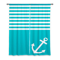 DiaNoche Designs - Window Curtains Unlined by Organic Saturation - Teal Love Anchor Nautical - Purchasing window curtains just got easier and better! Create a designer look to any of your living spaces with our decorative and unique unlined window curtains. Perfect for the living room, dining room or bedroom, these artistic curtains are an easy and inexpensive way to add color and style when decorating your home.  This is a tight woven poly material that filters outside light and creates a privacy barrier.  Each package includes two easy-to-hang, 3 inch diameter pole-pocket curtain panels.  The width listed is the total measurement of the two panels.  Curtain rod sold separately. Easy care, machine wash cold, tumbles dry low, iron low if needed.
