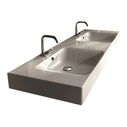 """WS Bath Collections - Cento 3536 Wall Hung or Counter Top Ceramic Sink 55.1"""" x 17.7"""" - Cento by Wes Bath Collections Bathroom Sink 55.1 x 17.7, Designed by Marc Sadler of Italy, wall hung or counter top installation, in ceramic white"""