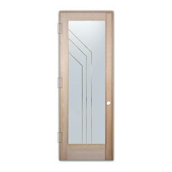 "Sans Soucie Art Glass (door frame material T.M. Cobb) - Interior Glass Door Sans Soucie Art Glass Angled Pinstripes Negative - Sans Soucie Art Glass Interior Door with Sandblast Etched Glass Design. GET THE PRIVACY YOU NEED WITHOUT BLOCKING LIGHT, thru beautiful works of etched glass art by Sans Soucie!  THIS GLASS IS SEMI-PRIVATE.  (Photo is View from OUTside the room.)  Door material will be unfinished, ready for paint or stain.  Satin Nickel Hinges. Available in other wood species, hinge finishes and sizes!  As book door or prehung, or even glass only!  1/8"" thick Tempered Safety Glass.  Cleaning is the same as regular clear glass. Use glass cleaner and a soft cloth."