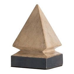 Arteriors - Melbourne Small Sculpture - These solid mango wood pyramid sculptures have been lightly finished in a natural white wash to contrast with the oxidized iron-clad sheet applied around the base. We love a single size lined down the center of a table or going up the stairs as much as we like them paired together.