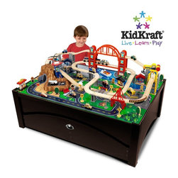 KidKraft - Metropolis Train Table And Set by Kidkraft - Our Metropolis Table and Train Set lets kids take control of an entire city. The train set is loaded with fun features and interactive pieces and the high-quality wooden table takes playtime off the floor. With this combination, kids are sure to have the time of their lives.