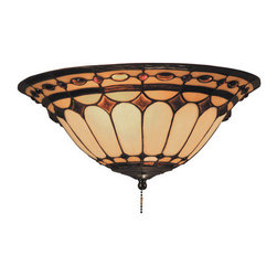 ELK Lighting - ELK Lighting 990 Diamond Ring Two-Light Flushmount Ceiling Fixture / Fan Light K - This Forever Lasting Collection Fits Perfectly In Just About Every D�cor.The Diamond Ring Pattern Features Oven-Bent Panels In Hues Of Honey And Amber Which Are Enhanced By An Exquisite Blend Of Neutral Toned Stones And Finished In A Stately Burnished Copper.Specifications: