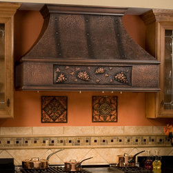 "48"" L Tuscan Series Copper Wall-Mount Range Hood - Grape Motif - Hood Only - Perfect for the wine enthusiast, the 48"" Tuscan Series Copper Range Hood features a grape vine design."