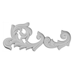 """Ekena Millwork - 26 3/4""""W x 10 3/4""""H x 1 5/8""""P Sussex Flourish Onlay - Right - Our appliques and onlays are the perfect accent pieces to cabinetry, furniture, fireplace mantels, ceilings, and more.  Each pattern is carefully crafted after traditional and historical designs.  Each polyurethane piece is easily installed, just like wood pieces, with simple glues and finish nails.  Another benefit of polyurethane is it will not rot or crack, and is impervious to insect manifestations.  It comes to you factory primed and ready for your paint, faux finish, gel stain, marbleizing and more."""