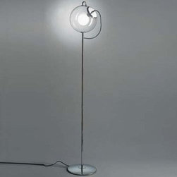 Artemide - Artemide | Miconos Floor Lamp - Design by Ernesto Gismondi.Miconos Floor luminaire offering diffused incandescent lighting. Diffuser in transparent hand-blown glass with handle and lamp holder assembly in chrome plated steel. Base and stem in chrome plated steel. Foot dimmer located on cord.
