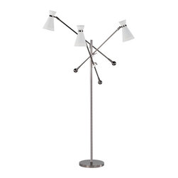 Jonathan Adler - Jonathan Adler Havana Adjustable 3-Light Floor Lamp Jonathan Adler's Havana - With three boom arms and three lights, the spotlight goes wherever you want it with this floor lamp designed by Jonathan Adler. Adjustable up to six feet, this gleaming polished nickel lamp has three perforated metal shade in powder-coated white.