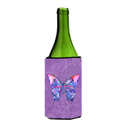 Caroline's Treasures - Butterfly on Purple Wine Bottle Koozie Hugger - Butterfly on Purple Wine Bottle Koozie Hugger Fits 750 ml. wine or other beverage bottles. Fits 24 oz. cans or pint bottles. Great collapsible koozie for large cans of beer, Energy Drinks or large Iced Tea beverages. Great to keep track of your beverage and add a bit of flair to a gathering. Wash the hugger in your washing machine. Design will not come off.