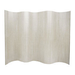 """Oriental Furniture - 6 ft. Tall Bamboo Wave Screen - White - A remarkably practical room divider or office partition, as well as a distinctive decorative accent. Hand-crafted from light-weight and extra strong kiln dried bamboo, in a flexible interlocking """"wave"""" style design. Bring the exceptional beauty and sustainability of fine finished bamboo to your home or office decor."""