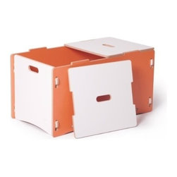 Sprout - Toy Box, Orange & White - This is a great toy storage solution and the perfect compliment to the product. Two lids lift off for easy access to everything inside, and prevent pinching little fingers. This toy box assembles quickly with no tools and no hardware. Interchangeable modular components let you simply snap parts together and even rearrange. A patent pending joint system is built right into the parts.