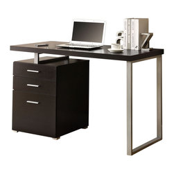 Monarch - Cappuccino Hollow-core Left Or Right Facing 48in.L Desk - This simple yet practical in. hollow-core in. desk is the perfect addition to your home office. The cappuccino finished desk can conveniently be placed on the left or right side offering you multi functionality. The mobile side drawers provide you with space to store office supplies, papers, books, files folders, and plenty more. Use the spacious top for your computer, a lamp and even some pictures. This 48 in. long desk with fit in perfectly into any space.