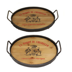 Casa Cortes - La Maison Du Chiarello Wood/ Metal Serving Trays (Set of 2) - Entertain in casual elegance and serve a variety of delcious foods or drinks on these practical serving trays. Beautifully made with a combination of wood and metal and decorated with La Maison Du Chiarello code of arms.