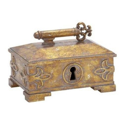 """BZBZ54821 - Decorative Box with a Glossy Touch and Solid Design - Decorative Box with a Glossy Touch and Solid Design. Keep your cherished jewelry inside this exceptional and rare antique decorative box with a lock and key design. Suitable for both contemporary and conventional interiors, this decorative polystyrene box is easy to carry around anywhere. It comes with a following dimensions 10""""W x 6""""D x 7""""H."""
