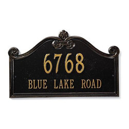 Frontgate - Customizable Lancaster Estate Wall Plaque - Rust-free cast aluminum. Heavy-duty powdercoated finish. Includes wall-mount hardware or in-ground stake. Minor assembly. Our elegant Customized Lancaster Address Plaque can be personalized with a single or double line—up to five numerals on the first line and 18 letters on the second line. Available in standard or estate sizes, wall or lawn mounts, and three heavy-duty powdercoated finishes.  .  .  . . Please check for accuracy; personalized orders cannot be modified, cancelled, or returned after being placed.