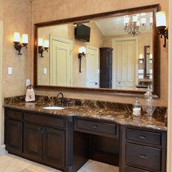Bathrooms - Dark Emperador marble countertops, bathroom vanity, marble vanity, Dark Emperado, material from Levantina Dallas