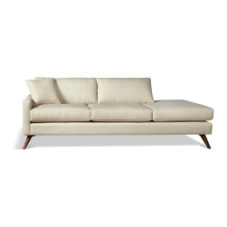 True Modern - Dane One arm Sofa with Chaise-Calvin Ivory - When it's time for a chaise, choose one like this that can hold its own in the middle of a room. Pull up a side table to hold your glass of wine and latest best seller — you may never want to leave!