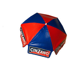 DestinationGear - 6 ft Cinzano Vinyl Umbrella, Bar Height - The latest patio style trends point to the patio umbrella as the focal point for your party. Available in your favorite design, Cinzano Logo Patio Umbrella is the obvious choice to keep everyone cool at your next daytime gathering. This umbrella features the latest in aluminum frame design, with three points of tilt articulation. A sturdy, multi-ribbed undercarriage supports a vinyl canopy, tough enough to hold up all season long