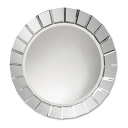 "Uttermost - Fortune Beveled Glass Round Mirror - This frameless, beveled mirror is accented by several small, rectangular beveled mirrors creating a ""web"" effect.  All edges have been polished for a smooth finish."