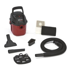 "SHOP VAC - Shop-Vacuum 2021000 1 Gallon, 1.5HP Micro Wet/Dry Vacuum - Quiet, hand held, wall mountable easy to carry. Weighs less than full-size vacs and occupies minimal storage space. Tool holder and wall bracket keeps vac and accessories in place. Specs: Cord length is 6 feet, hose size is 1.25"" diameter, and tank size is one gallon."