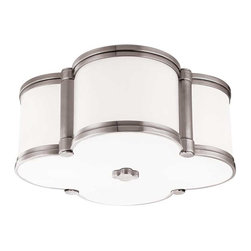 Hudson Valley Lighting - Hudson Valley Chandler I-2 Light Flush Mount in Polished Nickel - Hudson Valley Lighting's Chandler's I-2 Light Flush Mount shown in Polished Nickel. Our four-leaf clover ceiling fixture is a lucky find. From Mediterranean to modern, Chandler's inviting glow of ambient light is a welcome addition to any well-appointed space. Cast metal and custom opal glass give lasting life to this quatrefoil design.