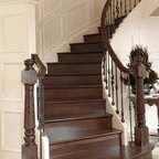 Private Residences - European Golden Acacia hardwood staircase, site sealed in natural color with Synteco 35 Satin finish.