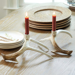 Ballard Designs - Faux Antler Candle Holders - Set of 2 - Coordinates with our Faux Antler accents. Holds standard taper. Rustic romance for your tabletop or mantel. Our Faux Antler Candle Holders are hand cast of resin using molds created from found antlers, so the details are incredibly realistic. Each is hand finished in washed bisque for a sun-bleached look. Faux Antler Candle Holders features: . .