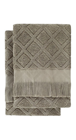Nine Space - Trellis Hand Towels, Sage, Set of 2 - A subtle crisscross pattern and neutral hue allow you to place these hand towels in any bath, stacked neatly in a basket or hung on a rack. Each is handwoven from pure Turkish cotton, making them soft and ultra absorbent.