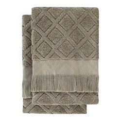 Nine Space - Trellis Hand Towel (Set of 2), Sage - A subtle crisscross pattern and neutral hue allow you to place these hand towels in any bath, stacked neatly in a basket or hung on a rack. Each is handwoven from pure Turkish cotton, making them soft and ultra absorbent.