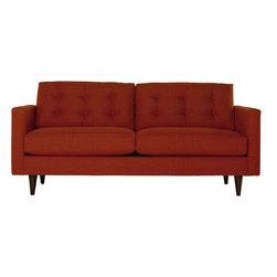 Apt2B - The Logan Sofa, Pumpkin - Add a bit of vintage glamour to your space with the Logan. Sleek wood legs and button tufted back cushions take this modern shape to an elevated level. The ultimate show piece for your stylish room. Each piece is expertly handmade to order in the USA and takes around 2-3 weeks in production. Features a solid hardwood frame and upholstered in a textured poly-blend fabric.