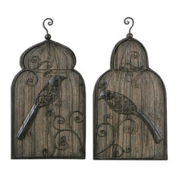 Uttermost - Rustic Birds Wall Art S/2 - Hand Forged Metal Finished In Dark, Rustic Bronze Accented With A Heavily Antiqued Wood Background.