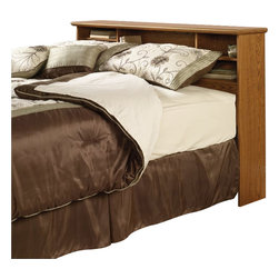 Sauder - Sauder Orchard Hills Full/Queen Bookcase Headboard in Carolina Oak finish - Sauder - Headboards - 401294 - Add practical and handy storage to your cozy traditional bedroom with the space-saving Sauder Orchard Hills Bookcase Headboard. This model fits a full or queen size bed and has rear cord access. Featuring the popular Carolina Oak finish this headboard will work well with classic decor themes and hearty color schemes. Trust the sturdy construction of high quality hard and soft wood materials veneer and laminate. Assemble your headboard easily with the clever T-lock design that eliminates the need for screws saving your valuable time.