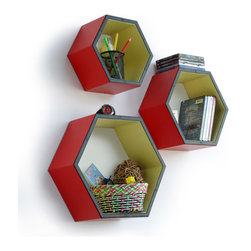 Blancho Bedding - [Colorado Red Grid] Hexagon Leather Wall Shelf / Floating Shelf (Set of 3) - These beautifully Hexagonal Shaped Wall Shelves display the art of woodworking and add a refreshing element to your home. Versatile in design, these leather wall shelves come in various colors and patterns. These elegant pieces of wall decor can be used for various purposes. It is ideal for displaying keepsakes, books, CDs, photo frames and so much more. Install as shown or you may separate the shelves to create a layout that suits your taste and your style. They spice up your home's decor, and create a multifunctional storage unit for all around your home. Each box serves as a practical shelf, as well as a great wall decoration.