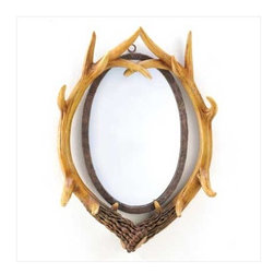 Buckhorn Wall Mirror - This mirror is surrounded with realistic looking faux stag horns and it a great look for cabins, hunting lodges or rooms decorated in a hunt theme.