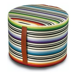 """Missoni Home - Janisey Cylindrical Pouf 12"""" x  16"""" - Features: -The Master Moderno Collection. -Available in Janisey, Tobago, Vevey and Vevey BN fabrics. -Removable cover. -Patent leather handle. -Base: fabric Eucla. -Material: Cotton. -Overall Dimensions: 12"""" H x 16"""" W."""